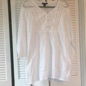 Summery, White, Tunic-Length Top